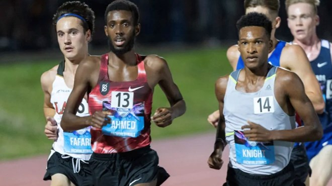 Canada's Mohammed Ahmed sliced 11 seconds off his own Canadian record when he ran 12 minutes 47.20 seconds in the 5,000 on July 11. He recently moved down to the 1,500 and became the fifth-fastest Canadian at that distance. (Paul Chiasson/The Canadian Press)