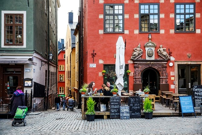 The central square of Stockholm's old town is quieter than usual during the pandemic. Photo: Emma-Sofia Olsson / SvD / TT