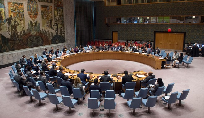A wide view of the Security Council meeting on the situation in Somalia, 13 April 2017. UN Photo/Eskinder Debebe