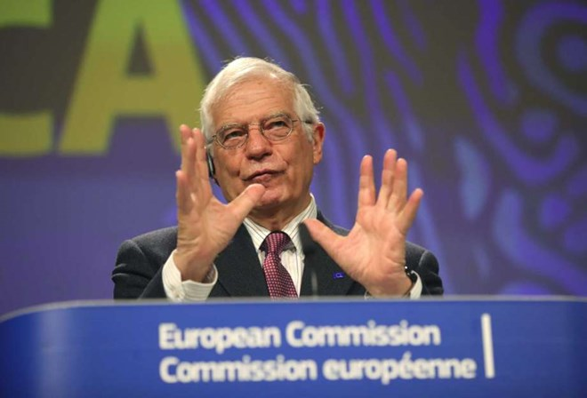 European Union foreign policy chief Josep Borrell speaks during a media conference regarding a strategy for Africa at EU headquarters in Brussels, Monday, March 9, 2020.