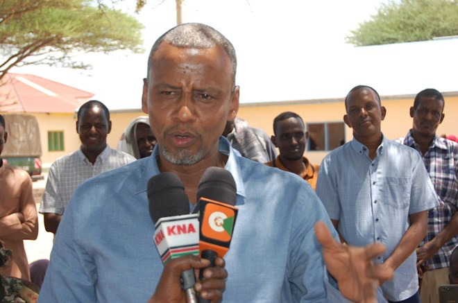 BLAMING COPS: Fafi MP Abdikarim Osman speaking on Sunday after donataing motorcycles to youths in Bura town.
