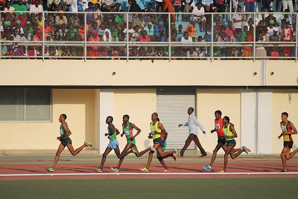 Mohammed Fatah (second from left) on his way to winning the 3000m steeplechase in Djibouti City (Organisers) © Copyright