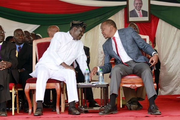 Uhuru Kenyatta and Raila Odinga at a past event. FILE PHOTO | NATION MEDIA GROUP