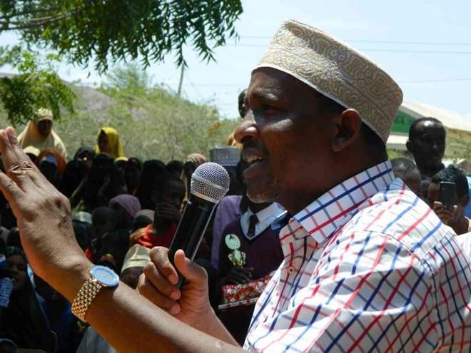 Garissa Town MP Aden Duale speaks at the Garissa cultural centre on August 1 last year /STEPHEN ASTARIKO