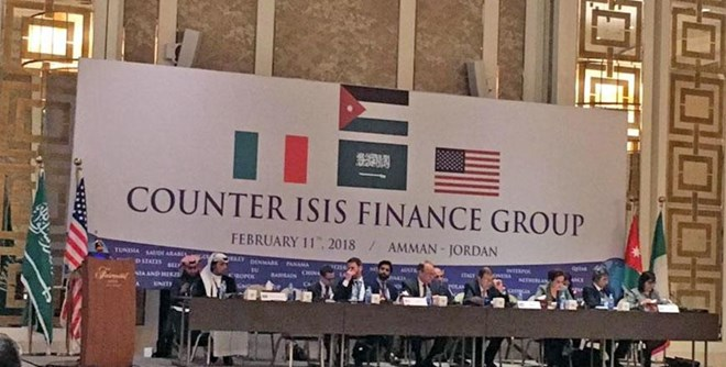 Partners meet to discuss ways to dismantle Daesh's sources of funding and financing, in Amman on Sunday (Photo courtesy of Global Coalition Twitter page)