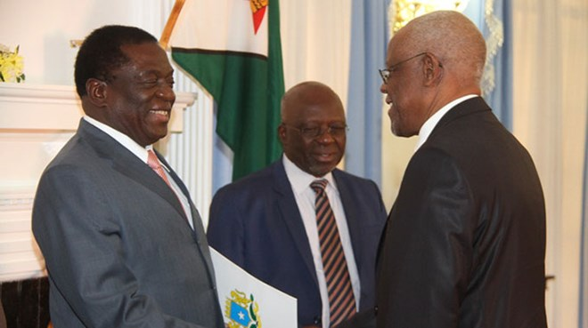 President Mnangagwa receives credentials from incoming Somali Ambassador to Zimbabwe Jamal Mohamed Barrow at State House in Harare yesterday. Looking on is Foreign Affairs and International Trade Secretary Ambassador Joey Bimha. — (Picture by Justin Mutenda)