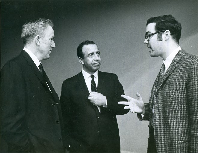 Rev. Donald Trued and Tim Smith discuss sanctions against South Africa at the United Nations. by United Nations .New York, New York, United Nations. March 17-18, 1969