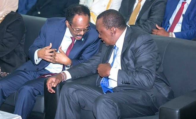 President Farmajo (L) with Kenya's President Uhuru Kenyatta (R) ahead of his swearing in Wednesday in the Somali capital, Mogadishu - Image: PSCU