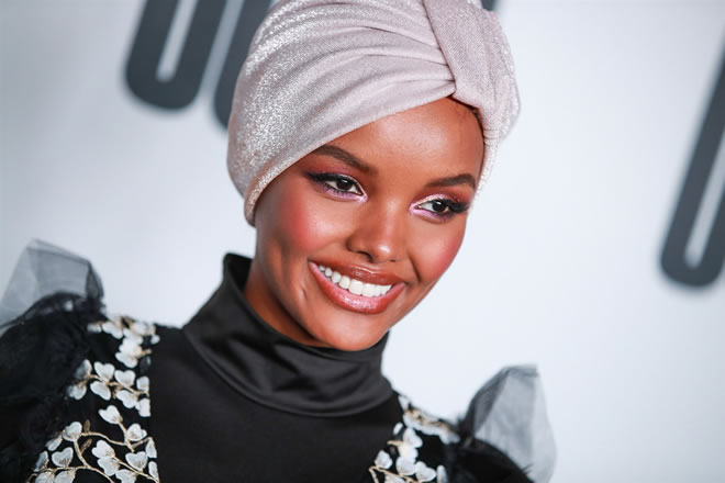 Halima Aden attends House Of Uoma presents the launch of Uoma Beauty in Los Angeles on April 25, 2019.Rich Fury / Getty Images