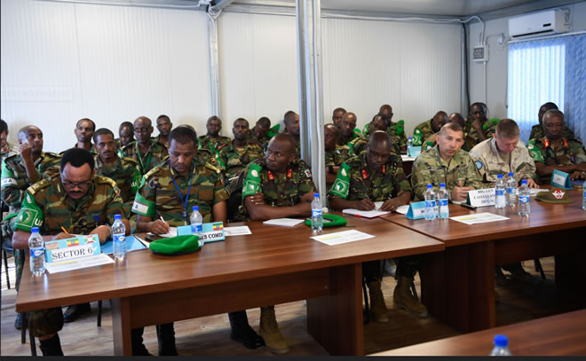 Senior officers from the African Union Mission in Somalia (AMISOM) and other international partners attend the opening session of the AMISOM Sector Commanders' Conference to discuss and review the Concept of Operations in Mogadishu, Somalia, on 11 February 2019. AMISOM Photo / Omar Abdisalan